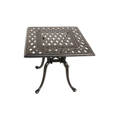 """Blanca 20"""" Square End Table. Available in an antique bronze powder coated finish."""