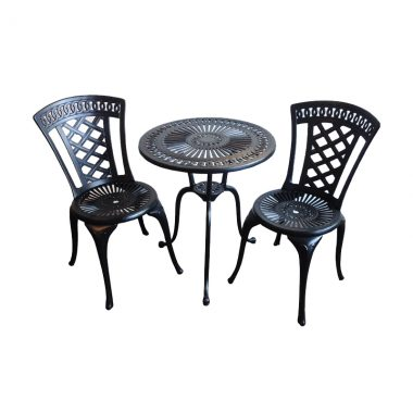 """Blanca Bistro Set: Black powder coated paint finish. Set includes 2 armless bistro chairs and a 24"""" round bistro table"""