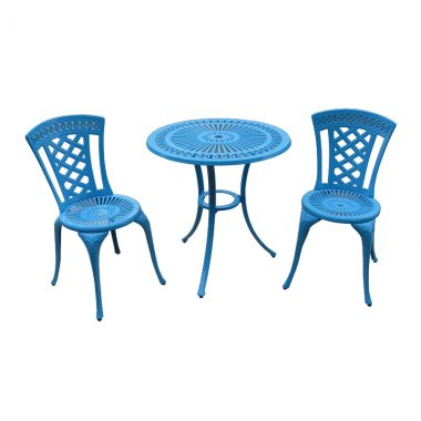 """Blanca Bistro Set: Blue powder coated paint finish. Set includes 2 armless bistro chairs and a 24"""" round bistro table"""
