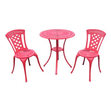 """Blanca Bistro Set: Red powder coated paint finish. Set includes 2 armless bistro chairs and a 24"""" round bistro table"""