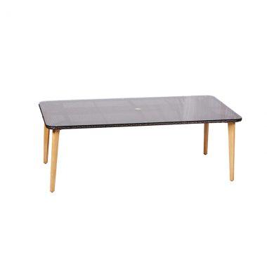 """Crown 84""""x42"""" Dining Table - Black Wicker/Faux Teak Legs"""