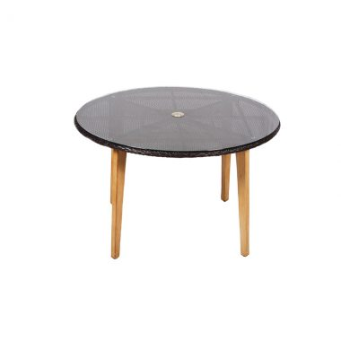 "Crown 48"" Round Dining Table - Black Wicker/Faux Teak Legs"