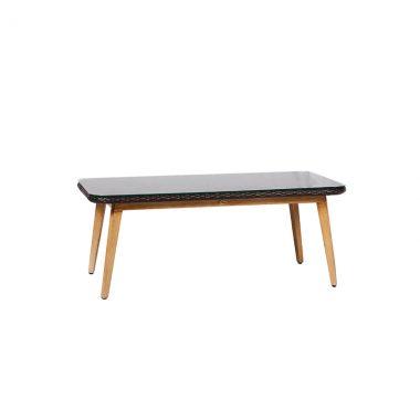 """Crown 42""""x24"""" Coffee Table - Black Wicker/ Faux Teak Legs"""